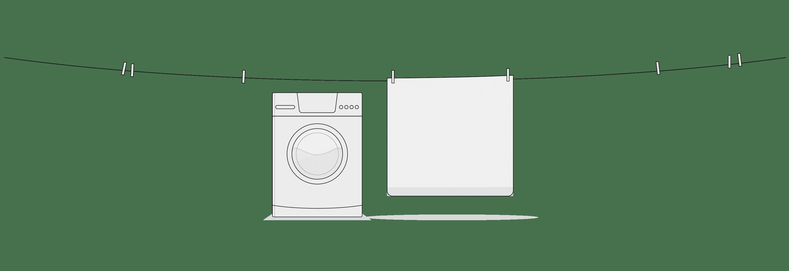 Ilustracja: Sznurek na pranie z kilkom klamerkami, na którym wisi pokrowiec funkcjonalny HyBreeze. Poniżej stoi pralka automatyczna.