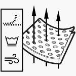 Symbole pokazują: oddychający, łatwo się pierze i szybko schnie