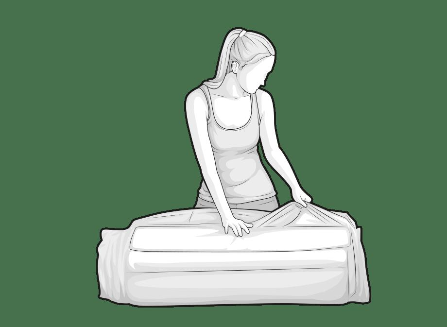 Ilustracja: Kobieta otwiera folię opakowania materaca BODYGUARD.