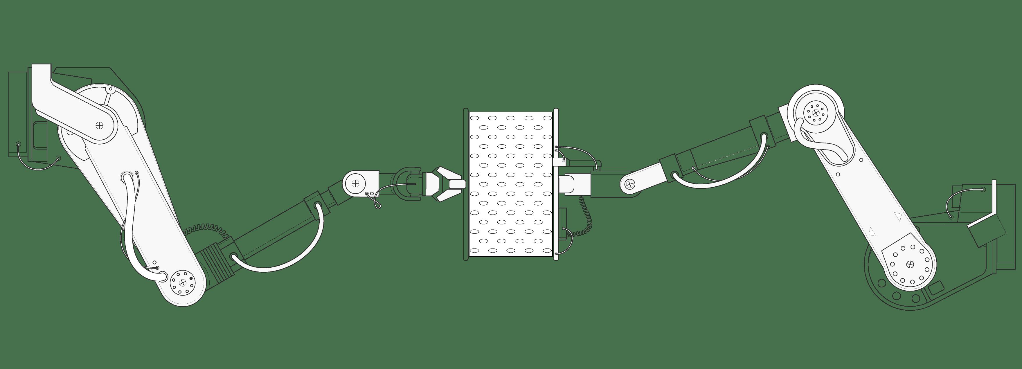Ilustracja: Fragment pokrowca funkcjonalnego HyBreeze między dwoma ogromnymi ramionami robota hydraulicznego, które rozchodzą się do boków.