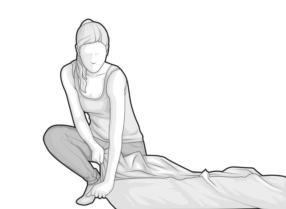 Ilustracja: Kobieta otwiera narożnik folii opakowania materaca BODYGUARD.