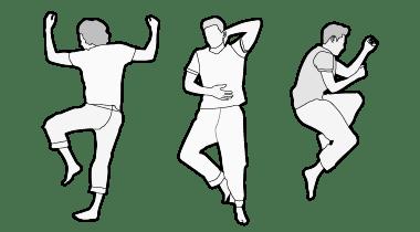 Ilustracja: Trzy osoby leżą obok siebie. Pierwsza w pozycji na brzuchu, druga w pozycji na plecach, trzecia w pozycji na boku.