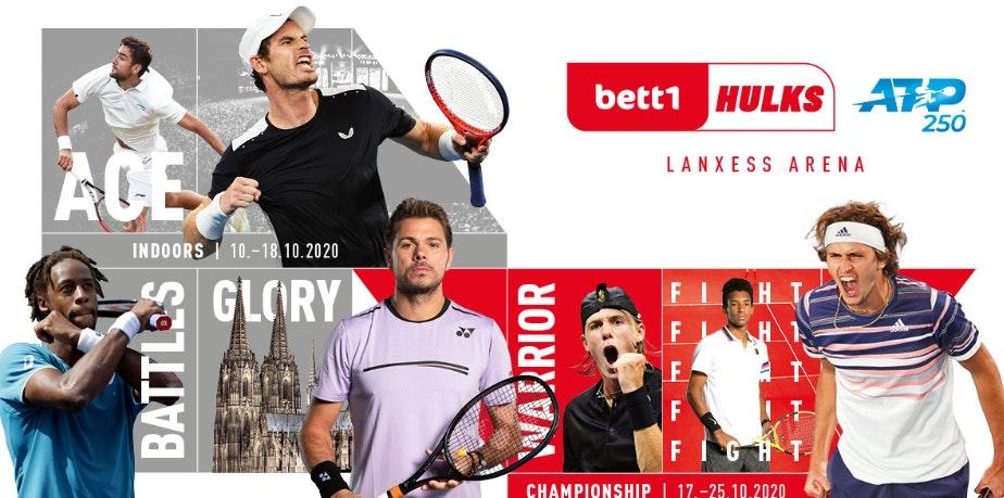 Kolaż fotograficzny: Różni gracze biorący udział w turnieju, daty obu turniejów oraz logo bett1HULKS i ATP są widoczne.