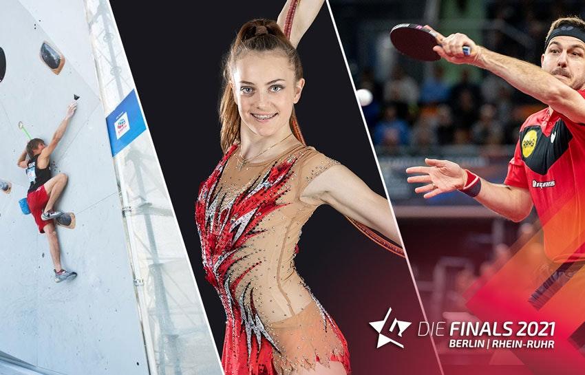 Kolaż zdjęć: po lewej mężczyzna na ściance wspinaczkowej, w środku kobieta w stroju do gimnastyki rytmicznej, po prawej tenisistka stołowa.