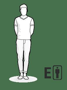 Ilustracja typu ciała E: wysoki, szczupły mężczyzna