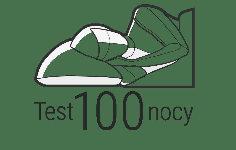 Ilustracja: Górna część ciała osoby leży w pozycji na boku, skierowana w stronę obserwującego. Pod spodem jest napis: Test 100 nocy.