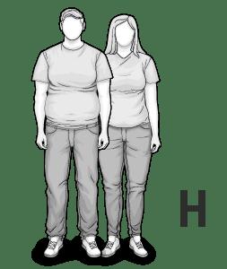 Ilustracja typu ciała H: krępy, silny mężczyzna
