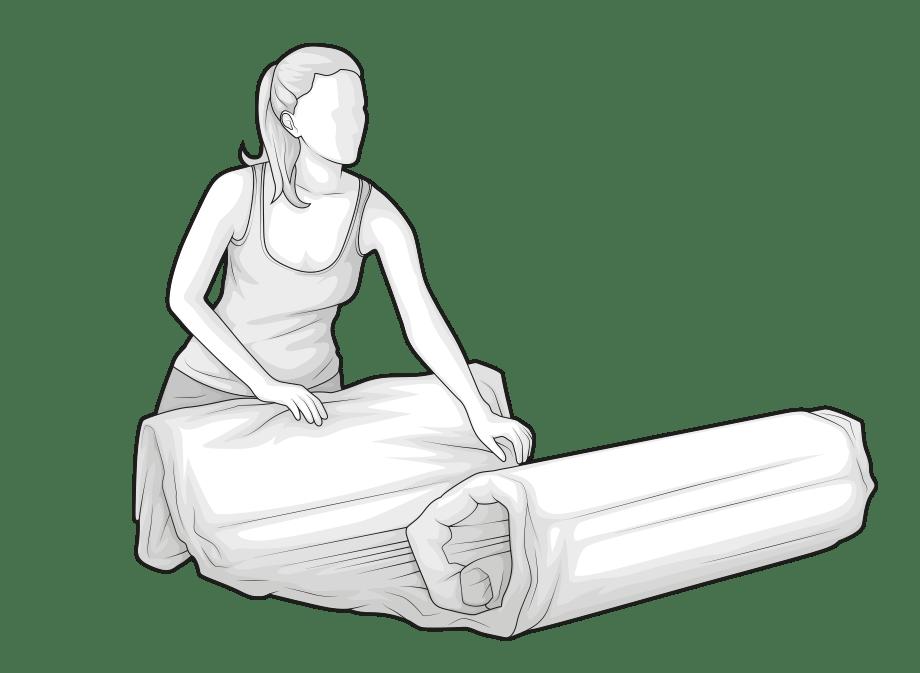 Ilustracja: Kobieta rozwija skompresowany materac BODYGUARD.