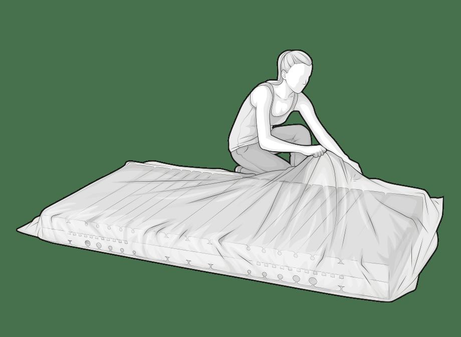 Ilustracja: Kobieta zdejmuje folię opakowania z leżącego przed nią materaca BODYGUARD. Materac rozwija się w tym czasie.