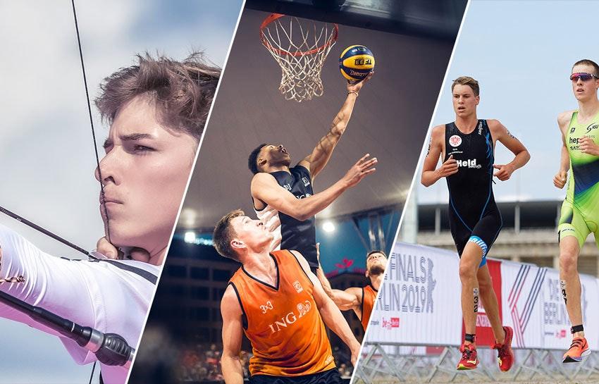 Kolaż zdjęć: po lewej łucznik, w środku trzech koszykarzy, po prawej dwóch biegaczy.