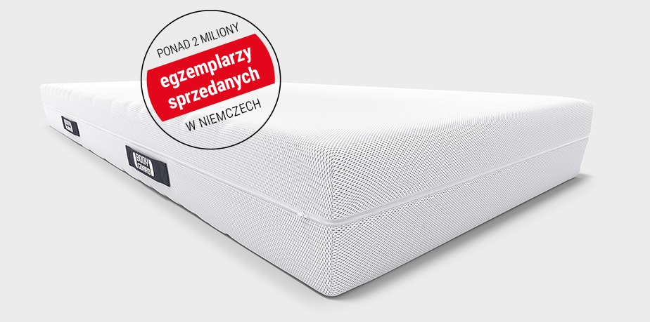 """The BODYGUARD Anti-Cartel-Mattress with an advertising interference saying """"over 2 million sold"""" and the test seal of Stiftung Warentest with overall rating of 1.7 (""""test"""" 10/2018)."""